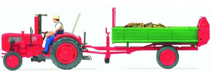 Preiser 17940 Fahr Traktor mit Einachs-Dungstreuer | Landwirtschaftsmodell 1:87
