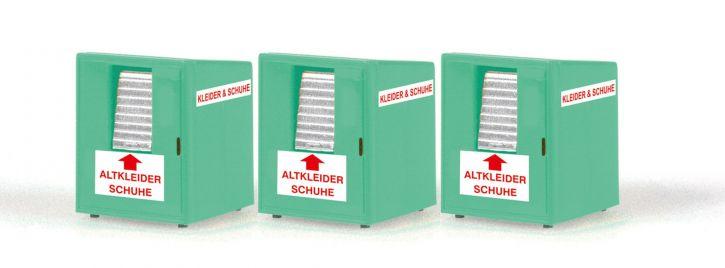 RIETZE 70259 Altkleidercontainer 3 Stück   Miniatur-Container 1:87