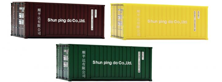 Roco 05217 3-tlg. Set 20ft Container Shun ping | Spur H0