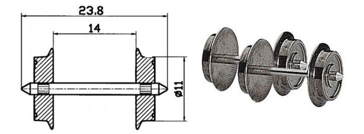 Roco 40183 Radsatz AC 11mm 2 Stk. Spur H0