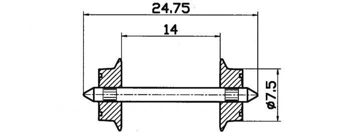 Roco 40184 Radsatz   Wechselstrom   7,5mm 2 Stk. Spur H0