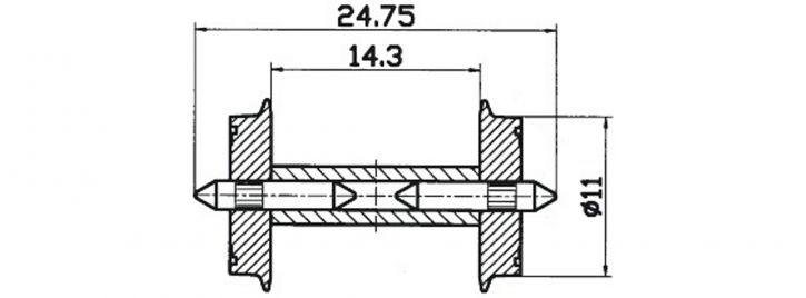 Roco 40192 Radsatz DC 11mm 2 Stk. Spur H0