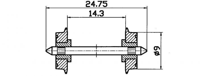 Roco 40197 DC-NEM-Normradsatz 9mm | 2 Stück | Spur H0
