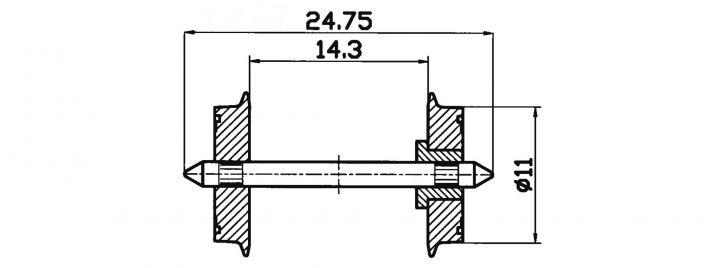 Roco 40198 Radsatz   Gleichstrom   einseitig isoliert   DC 11mm 2 Stk. Spur H0