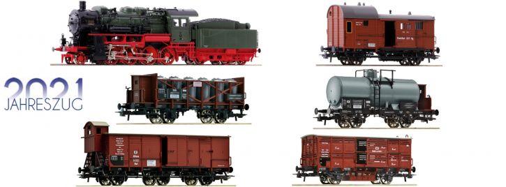 Roco 61481 Jahreszug 2021 | Dampflok G 8.2 mit Güterzug KPEV | DCC Sound | Spur H0