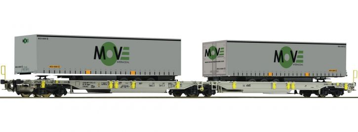 Roco 67404 Doppeltaschen-Gelenkwagen Spedition MOVE AAE | DC | Spur H0