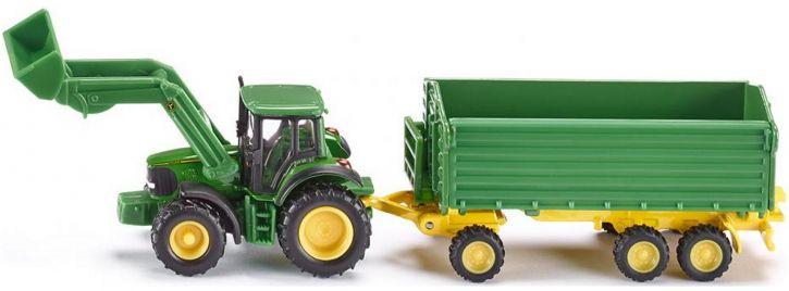 siku 1843 John Deere mit Frontlader und Anhänger | Traktormodell 1:87