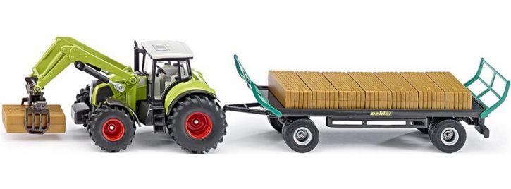 siku 1946 Claas mit Quaderballengreifer und Anhänger | Traktormodell 1:50