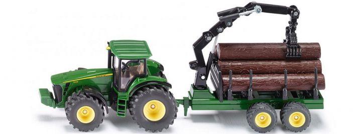 siku 1954 John Deere 8430 mit Forstanhänger | Traktormodell 1:50