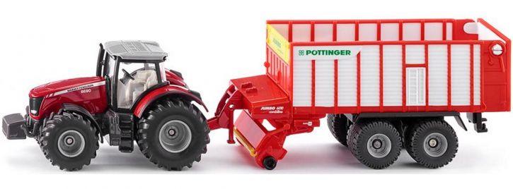 siku 1987 Massey Ferguson 8690 mit Pöttinger Jumbo | Traktormodell 1:50