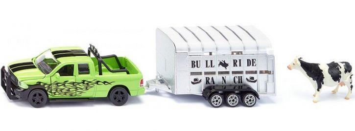 siku 1998 Dodge RAM 1500 mit Viehhänger | Agrarmodell 1:50