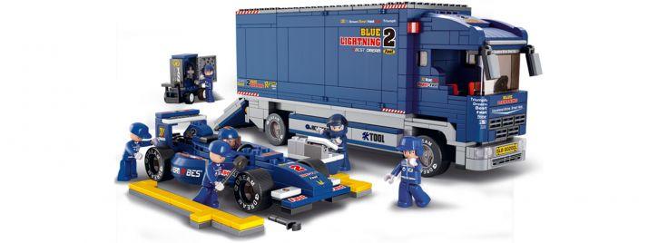 Sluban M38-B0357 Rennstall Truck mit Boliden | Rennwagen Baukasten