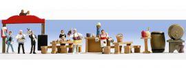 ausverkauft   NOCH 15071 Biergarten Figuren mit Zubehör Spur H0