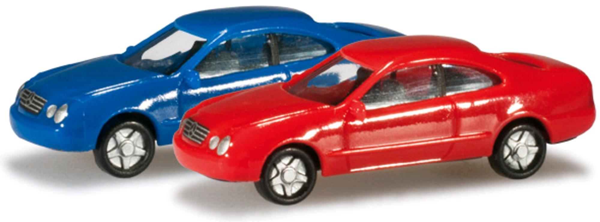 herpa 065146 002 n pkw set mb clk blau rot modellautos 1 160 online kaufen bei modellbau h rtle. Black Bedroom Furniture Sets. Home Design Ideas