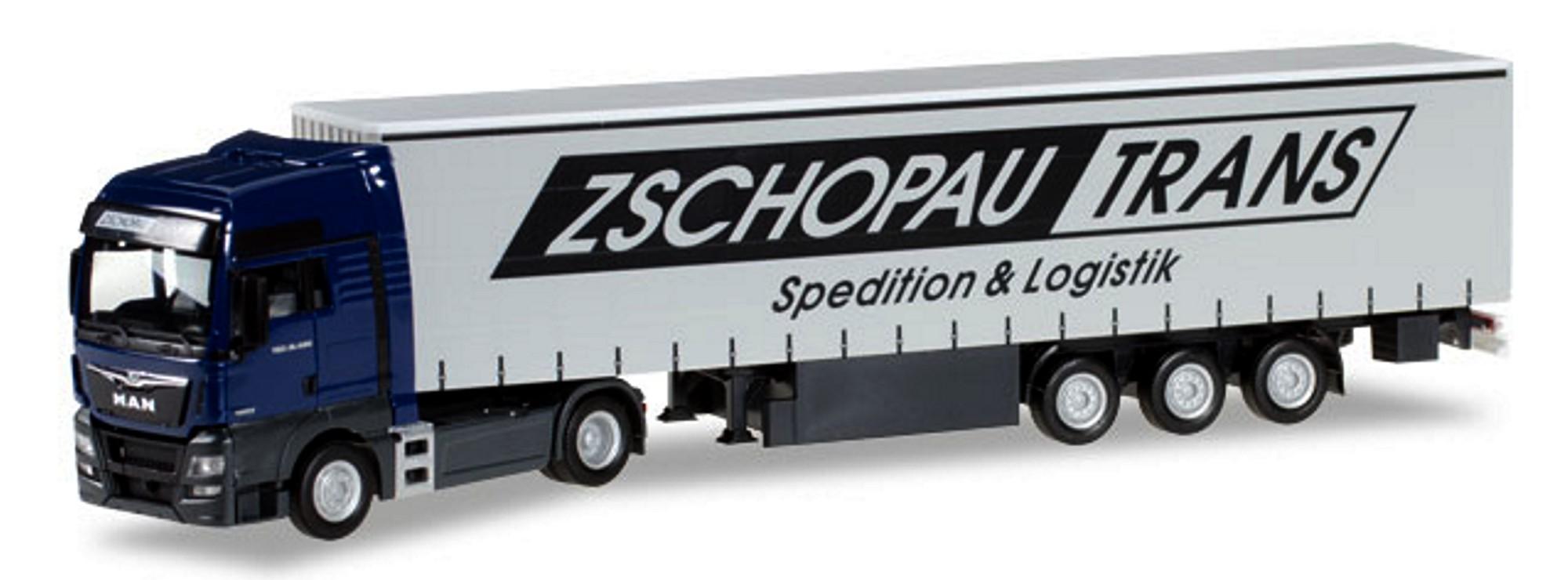 MAN TGX XXL Gardinenplanen-Sattelzug Zschopau Trans Herpa 1:87 922838 Spielzeugautos