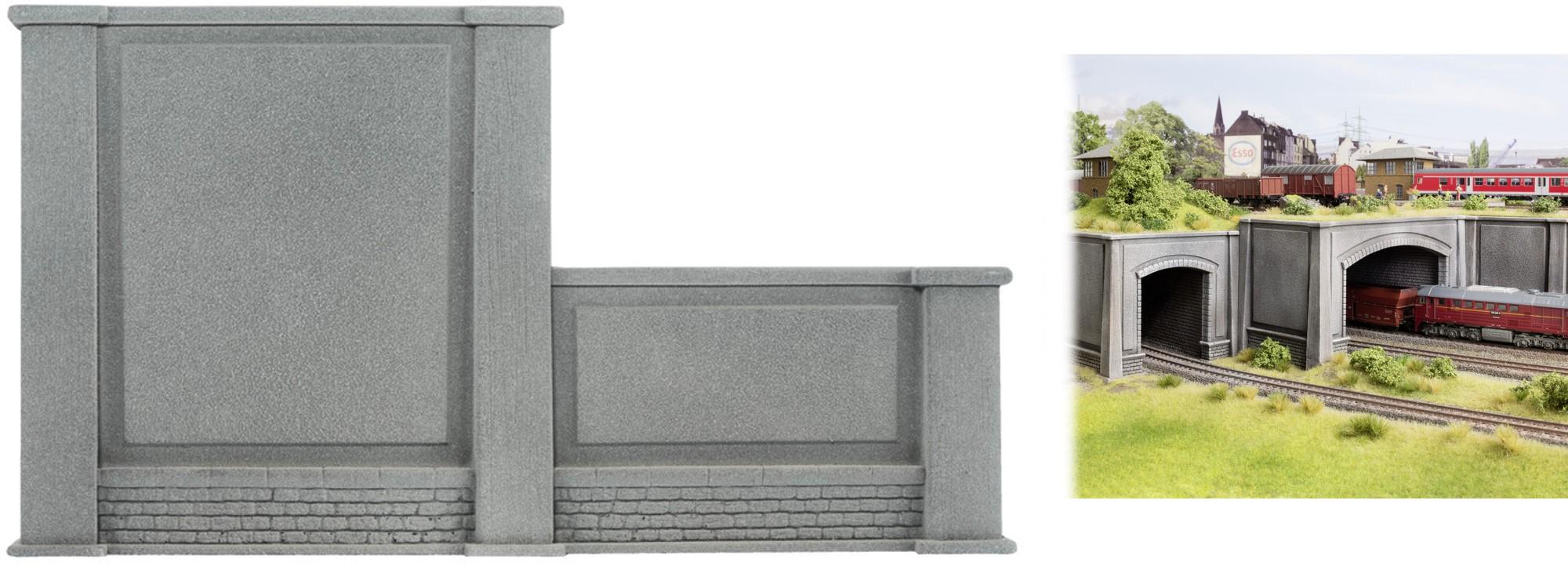 Noch 58087 H0 Mauer rechts abgestuft