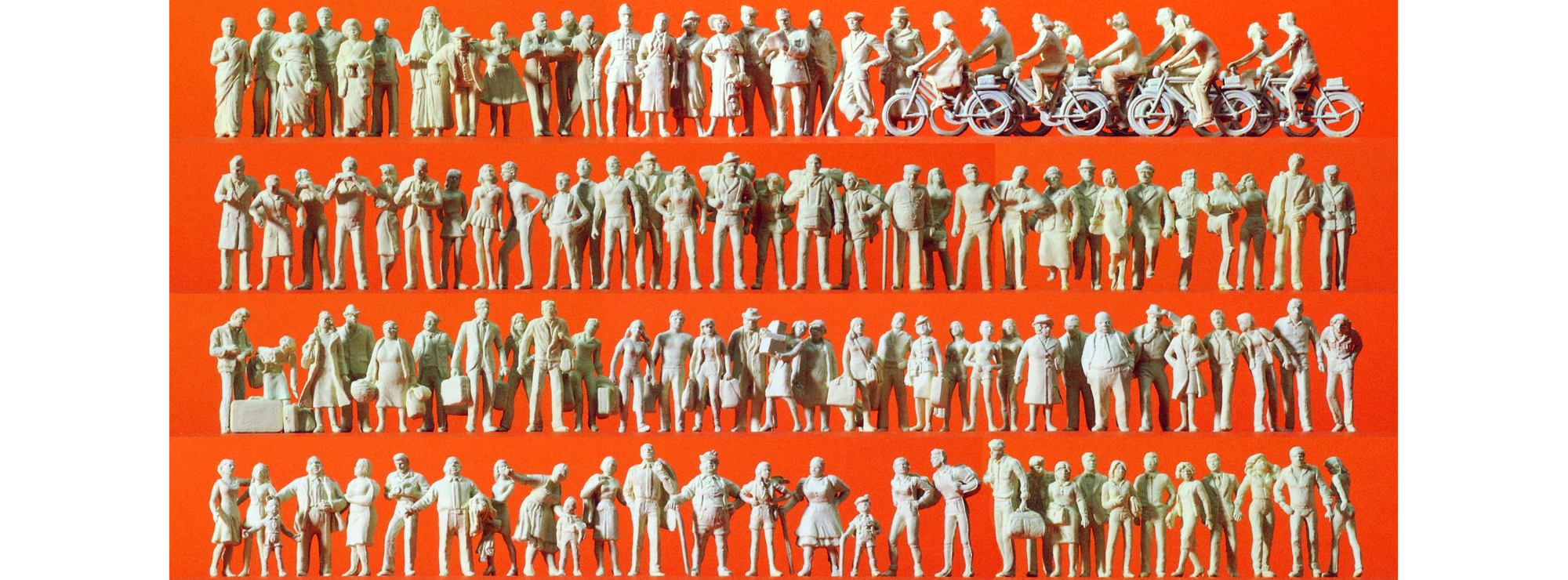H0 120 unbemalte Figuren 1:87 Preiser 16337 Reisende und Passanten