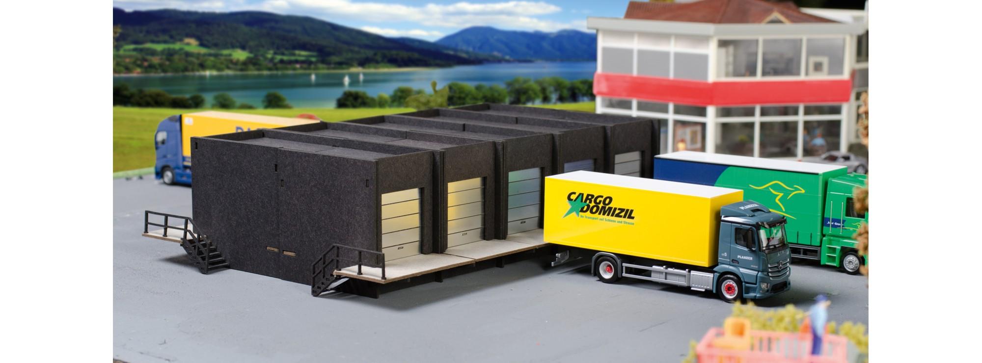 herpa 076708 geb udefassade spedition laderampen mit 5 rolltoren bausatz 1 87 online kaufen. Black Bedroom Furniture Sets. Home Design Ideas