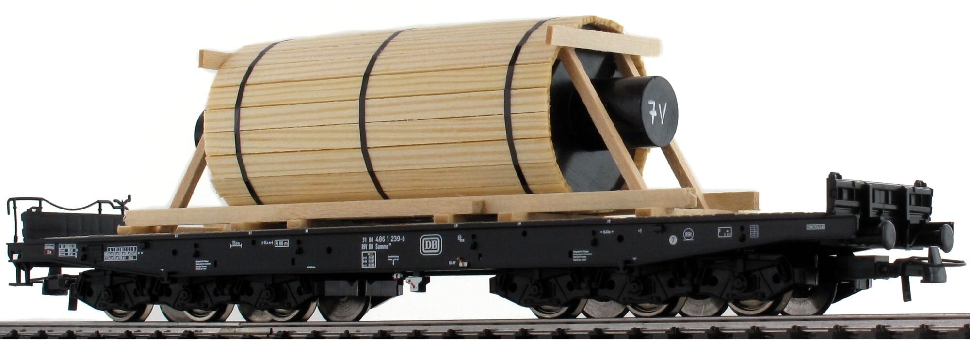 Roco 76826 Güterwagen Schwerlastwagen mit Stahlwalze DB H0